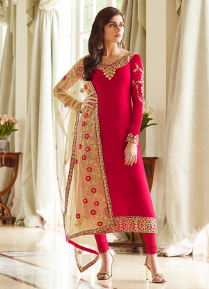 Pink and Gold Embroidered Straight Suit