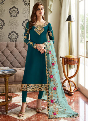 Teal Blue and Gold Embroidered Straight Suit