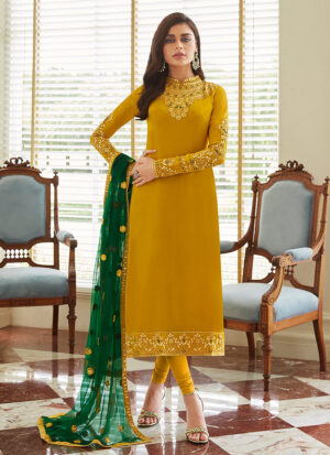 Mustard and Green Embroidered Straight Suit