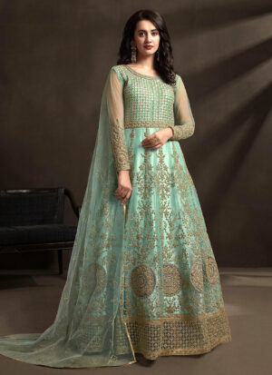 Aqua and Gold Embroidered Anarkali Gown
