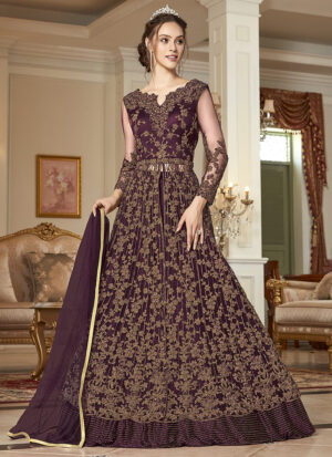 Wine and Gold Embroidered Lehenga/ Pant Style Anarkali