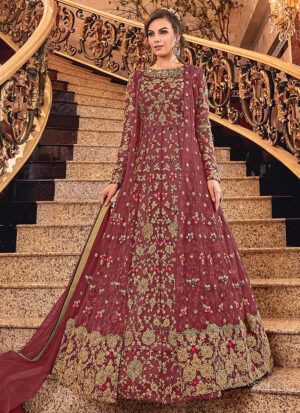 Pink and Gold Embroidered Jacket Style Anarkali