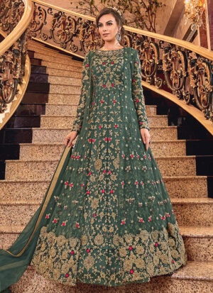 Dusty Green and Gold Embroidered Jacket Style Anarkali