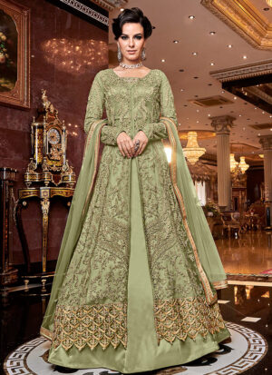 Green and Gold Embroidered Lehenga/ Pant Style Anarkali