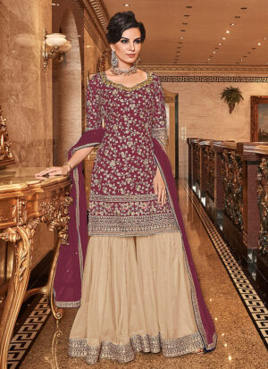 Pink and Cream Embroidered Gharara Suit