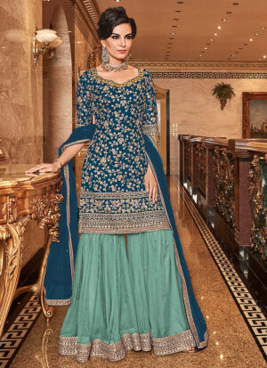 Blue and sea Green Embroidered Gharara Suit