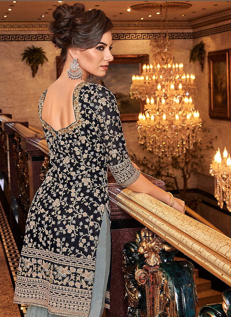 Black and Grey Embroidered Gharara Suit