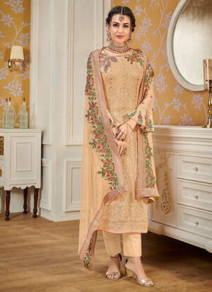 Light Beige Embroidered Straight Pant Suit