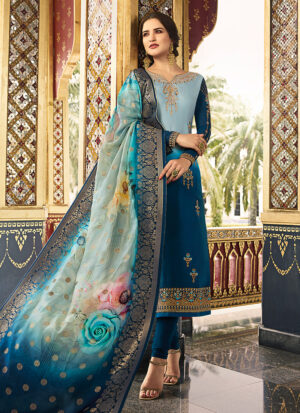 Blue Shaded Embroidered Straight Suit