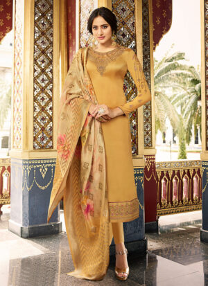 Golden Yellow Embroidered Straight Cut Suit