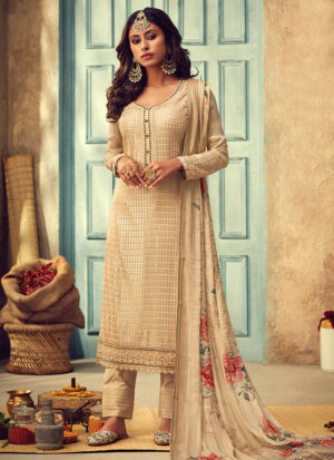 Beige Embroidered Straight Pant Suit