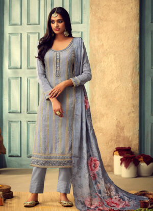Blue Grey Embroidered Straight Pant Suit