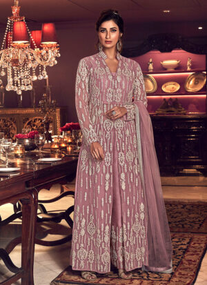 Light Purple Embroidered Pant Style Suit