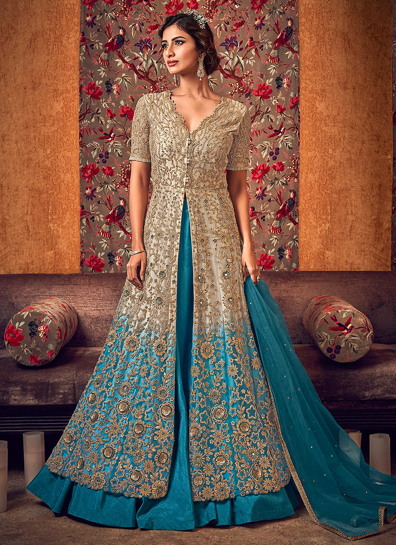 Light Beige and Blue Embroidered Lehenga/ Pant Style Anarkali