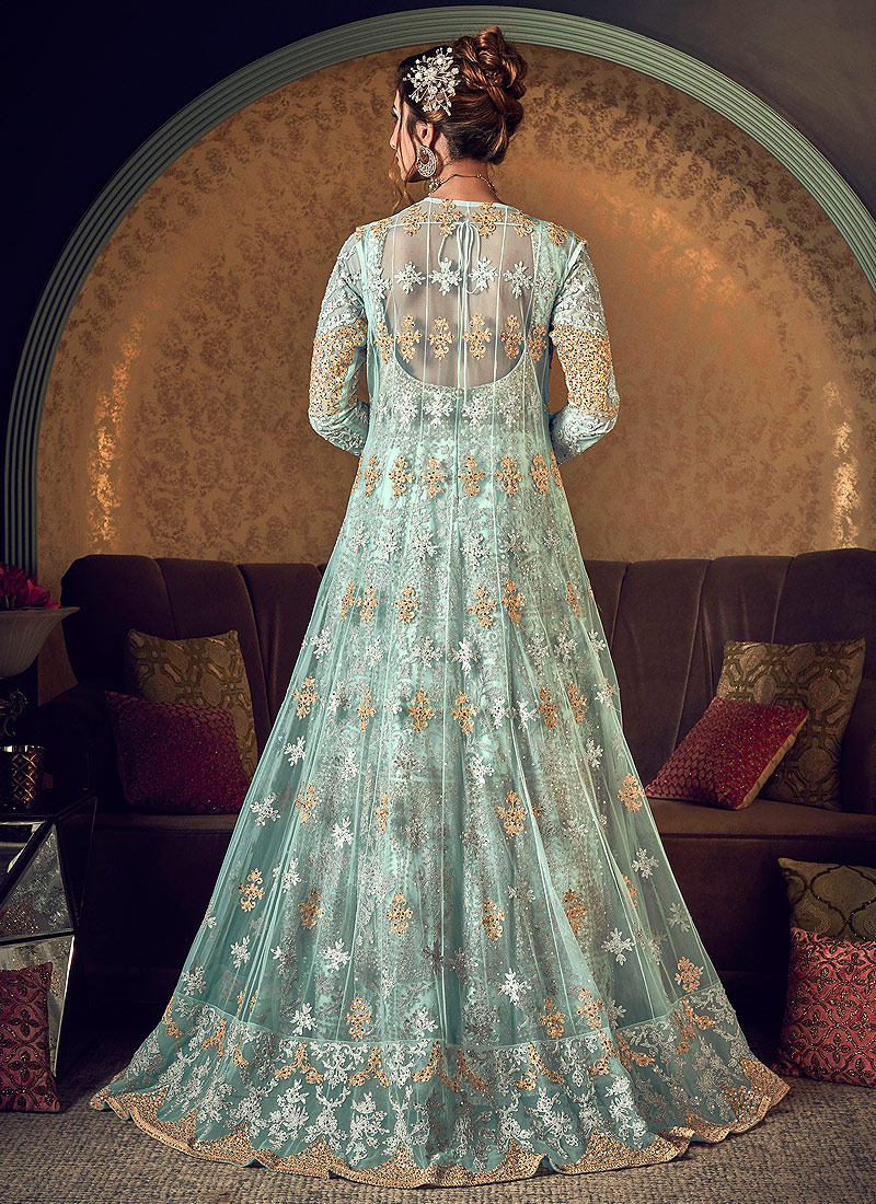 Mint and Gold Embroidered Jacket Style Anarkali