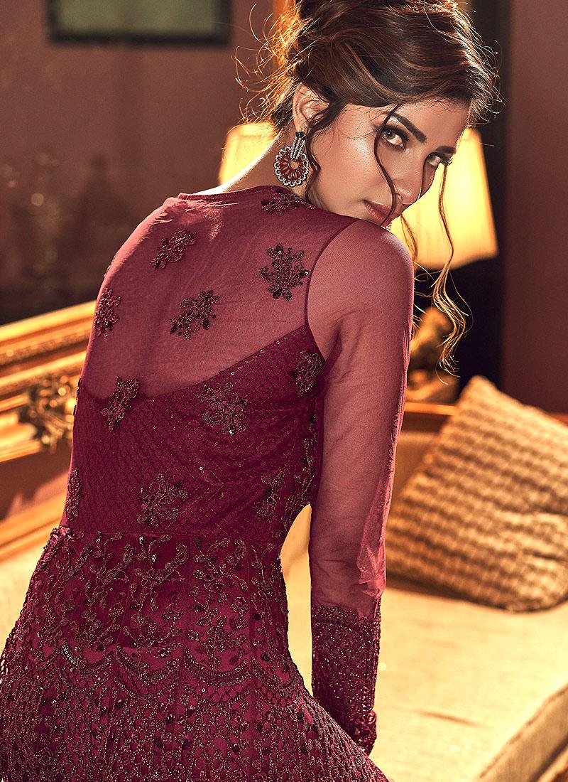 Maroon Embroidered Lehenga/ Pant Style Anarkali