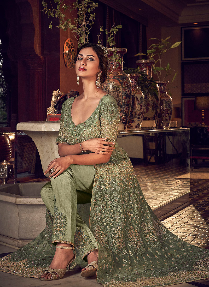 Green Embroidered Lehenga/ Pant Style Anarkali
