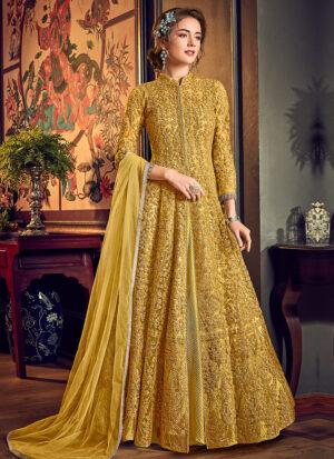 Yellow Embroidered Jacket style Anarkali
