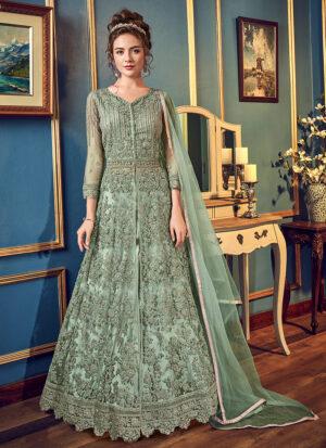 Green Embroidered Lehenga/ Pant Style Anarkali