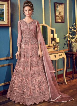 Pink Embroidered Lehenga/ Pant Style Anarkali