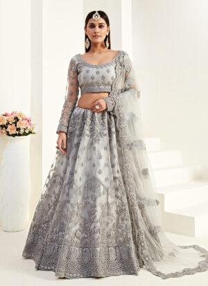 Grey Floral Embroidered Lehenga