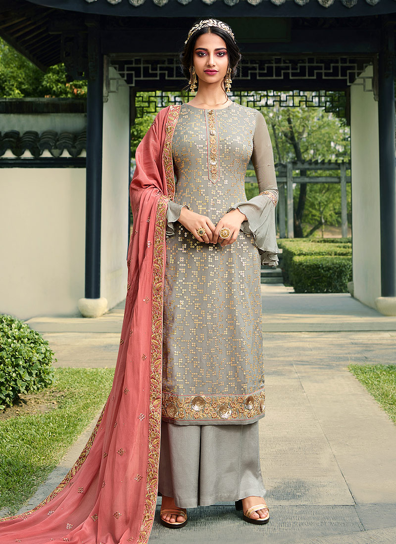 Grey and Pink Embroidered Palazzo Suit