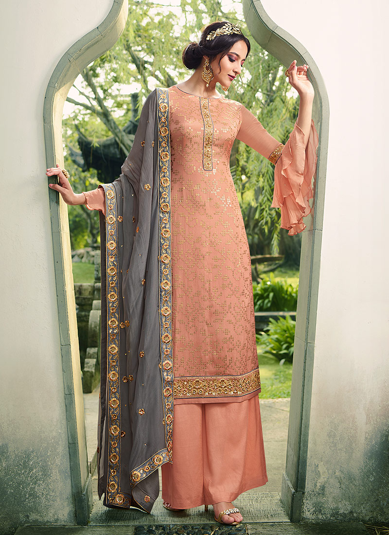 Light Peach and Grey Embroidered Palazzo Suit