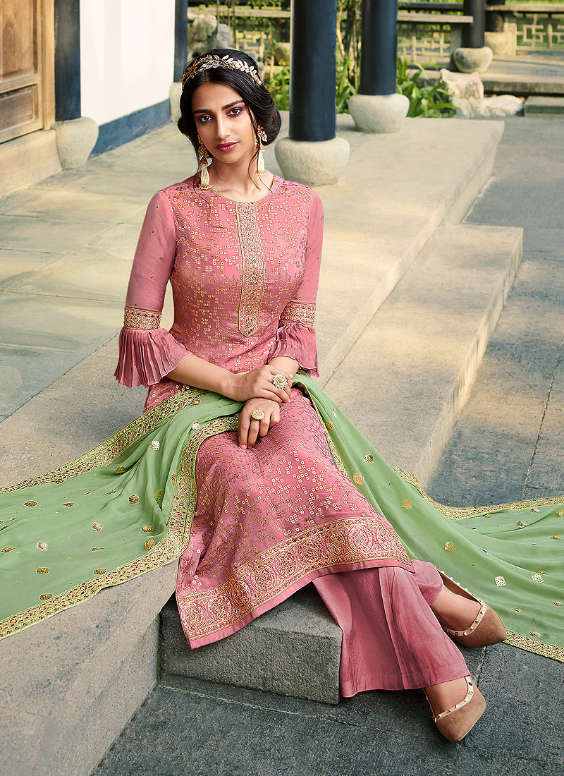 Purple and Green Embroidered Palazzo Suit