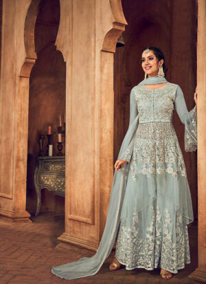 Light Mint Embroidered Sharara Suit