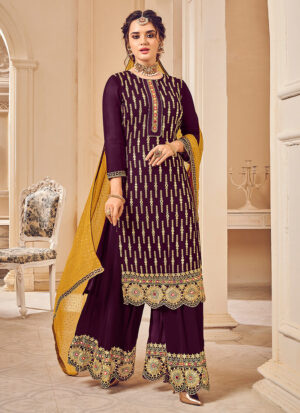 Purple and Mustard Embroidered Palazzo Suit