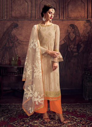 Offwhite and Orange Embroidered Palazzo Suit