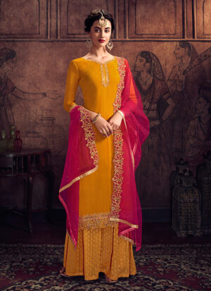 Yellow and Pink Embroidered Palazzo Suit
