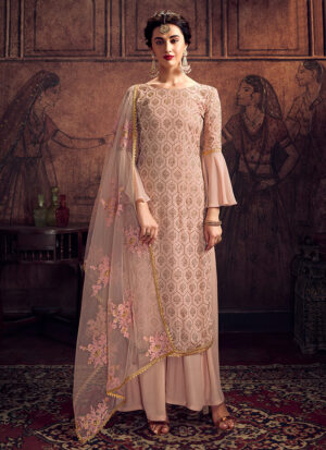 Light Grey and Gold Embroidered Palazzo Suit