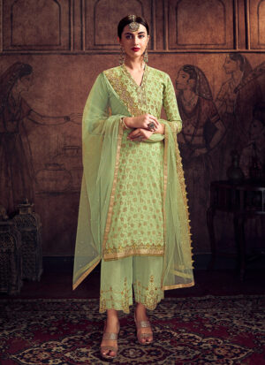 Green and Gold Embroidered Pant Suit
