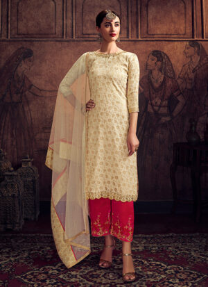 Cream and Pink Embroidered Pant Suit