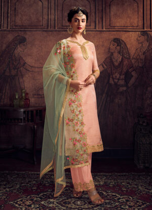 Light Pink and Green Embroidered Pant Suit