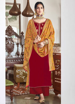 Red and Yellow Embroidered Velvet Palazzo Suit