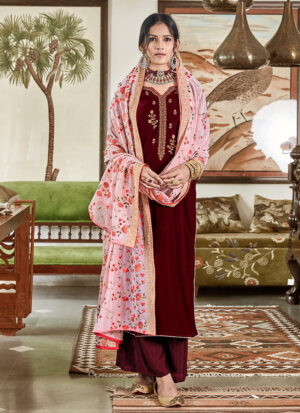 Maroon and Light Pink Embroidered Velvet Palazzo Suit