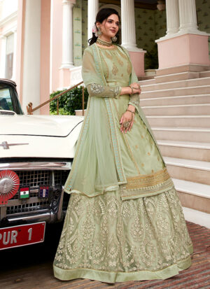 Light Green Embroidered Lehenga/ Pant Suit