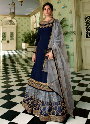 Blue and Grey Embroidered Lehenga/ Pant Suit