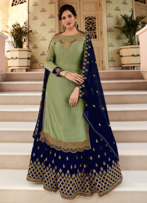 Green and Blue Embroidered Lehenga/ Pant Suit