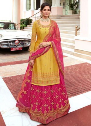 Yellow and Pink Embroidered Lehenga/ Pant Suit