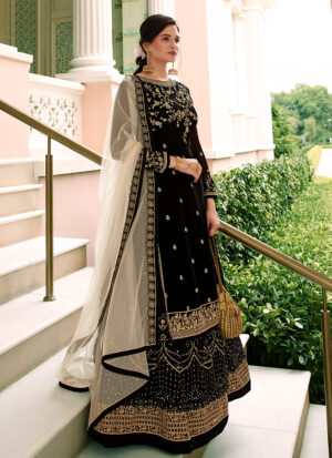Black and Gold Embroidered Lehenga/ Pant Suit