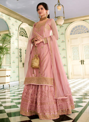 Light Pink Embroidered Lehenga/ Pant Suit