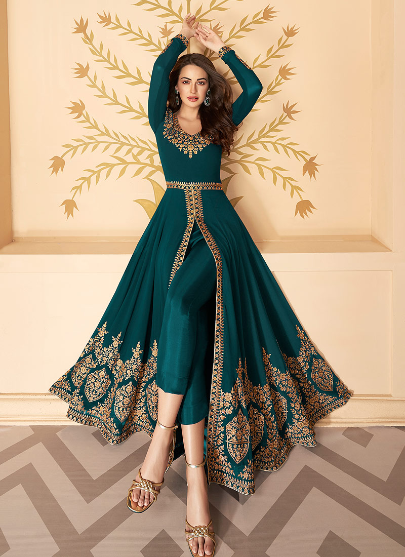Teal and Gold Embroidered Pant Style Anarkali