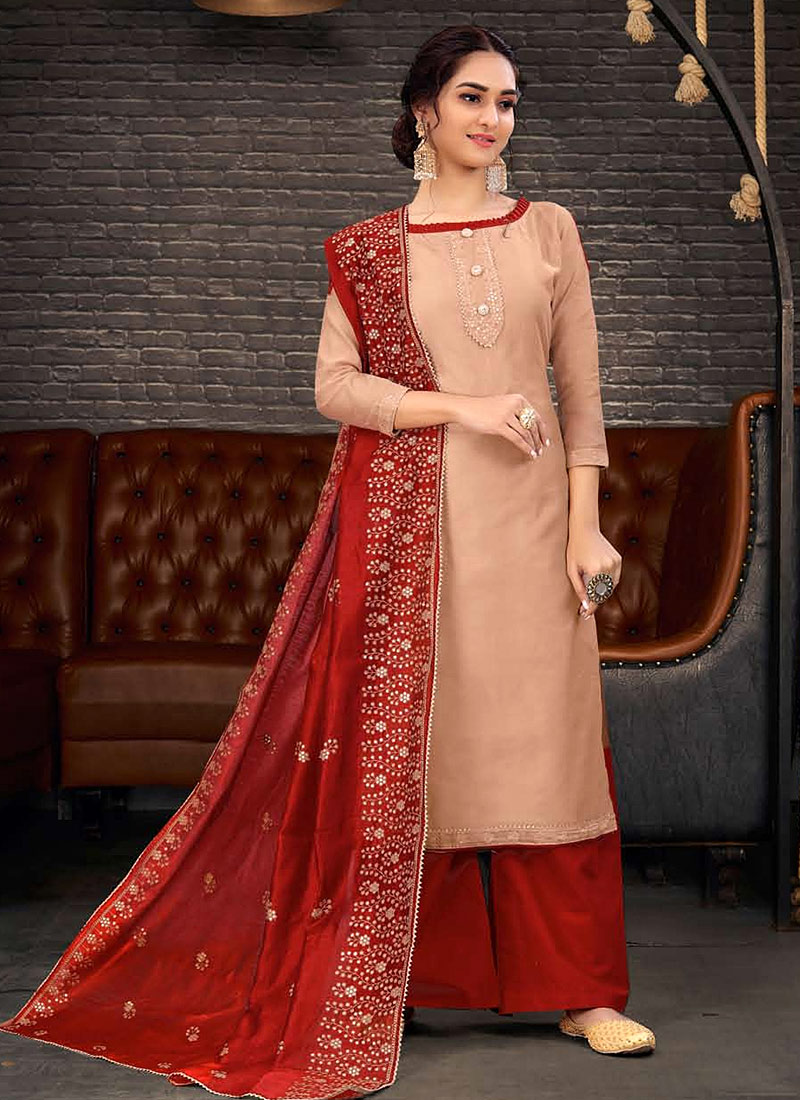 Light Peach and Red Embroidered Palazzo Suit