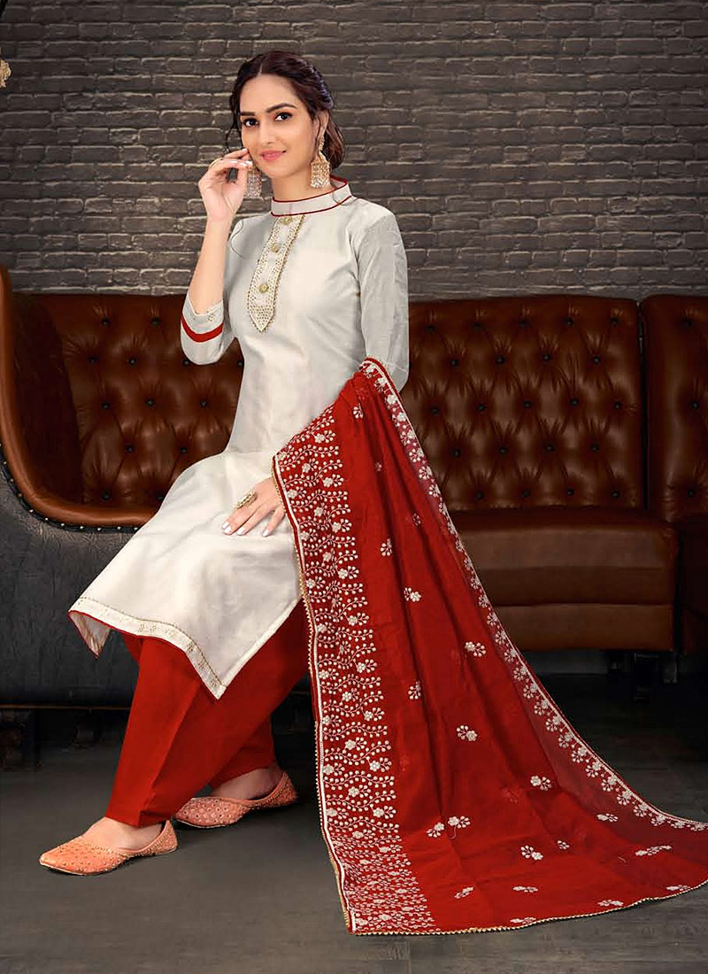Offwhite and Red Embroidered Patalia Suit