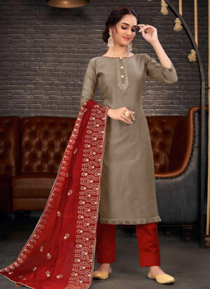Grey and Red Embroidered Pant Suit