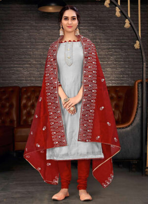 Grey and Red Embroidered Straight Suit