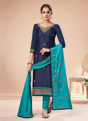 Blue and Teal Embroidered Straight Pant Suit